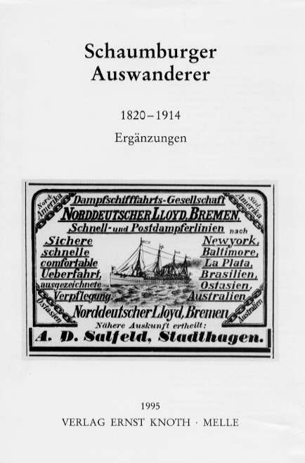 "Picture of the book ""Schaumburger Auswanderer"""
